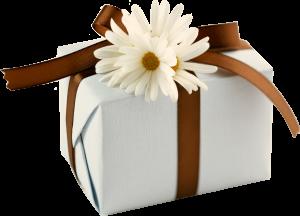 подарок с цветком