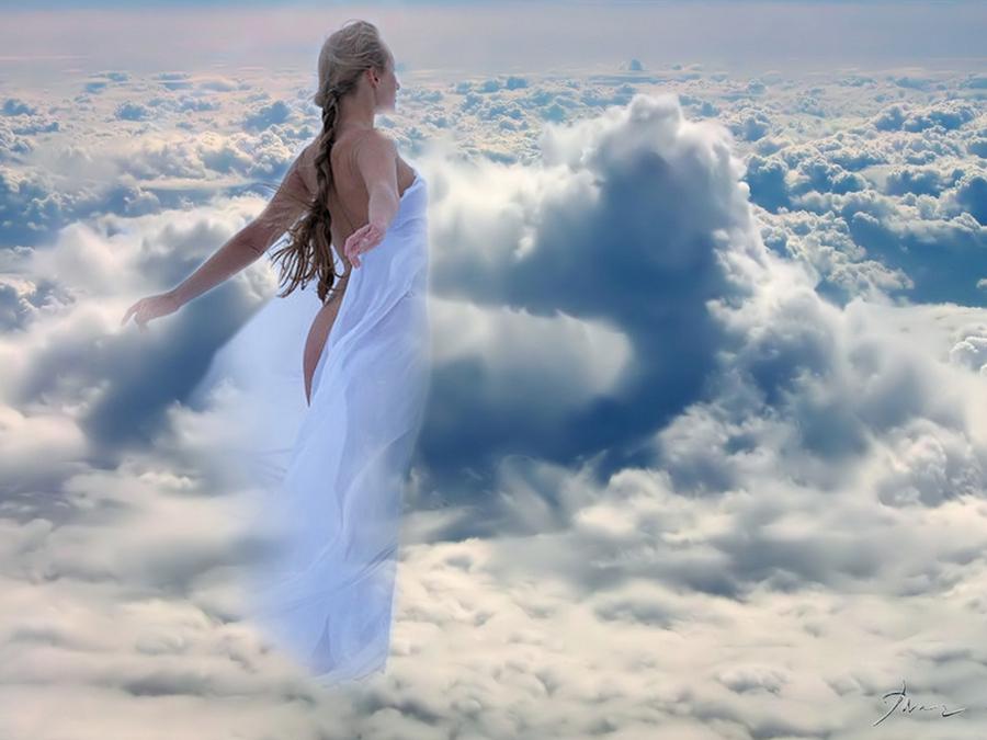 девушка на облаке