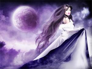 девушка луна свет