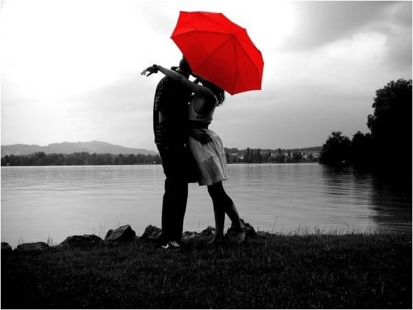 любовь красный зонтик