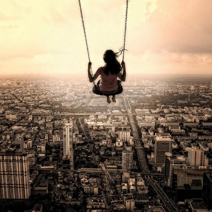 полет над городом к мечте